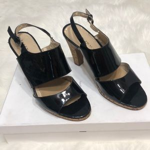 Ellen Tracy Cory leather black cork sandals size 7